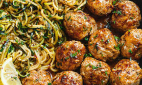 Garlic Butter Turkey Meatballs With Lemon Zucchini Noodles ..