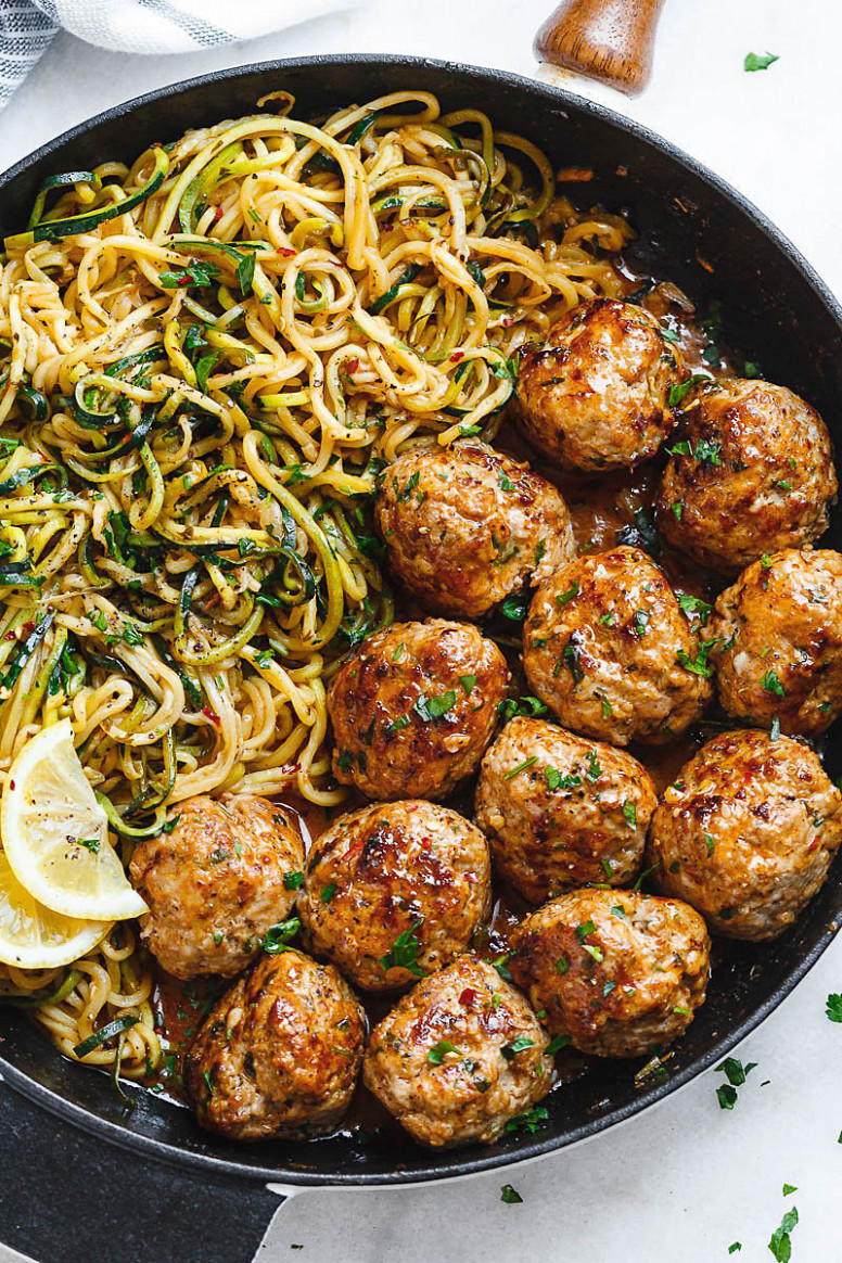 Garlic Butter Turkey Meatballs with Lemon Zucchini Noodles ...