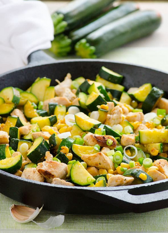 Garlic Chicken, Zucchini and Corn - iFOODreal - Healthy ..