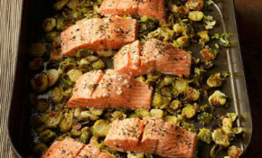 Garlic Roasted Salmon & Brussels Sprouts Recipe – EatingWell – Recipes For Healthy Food