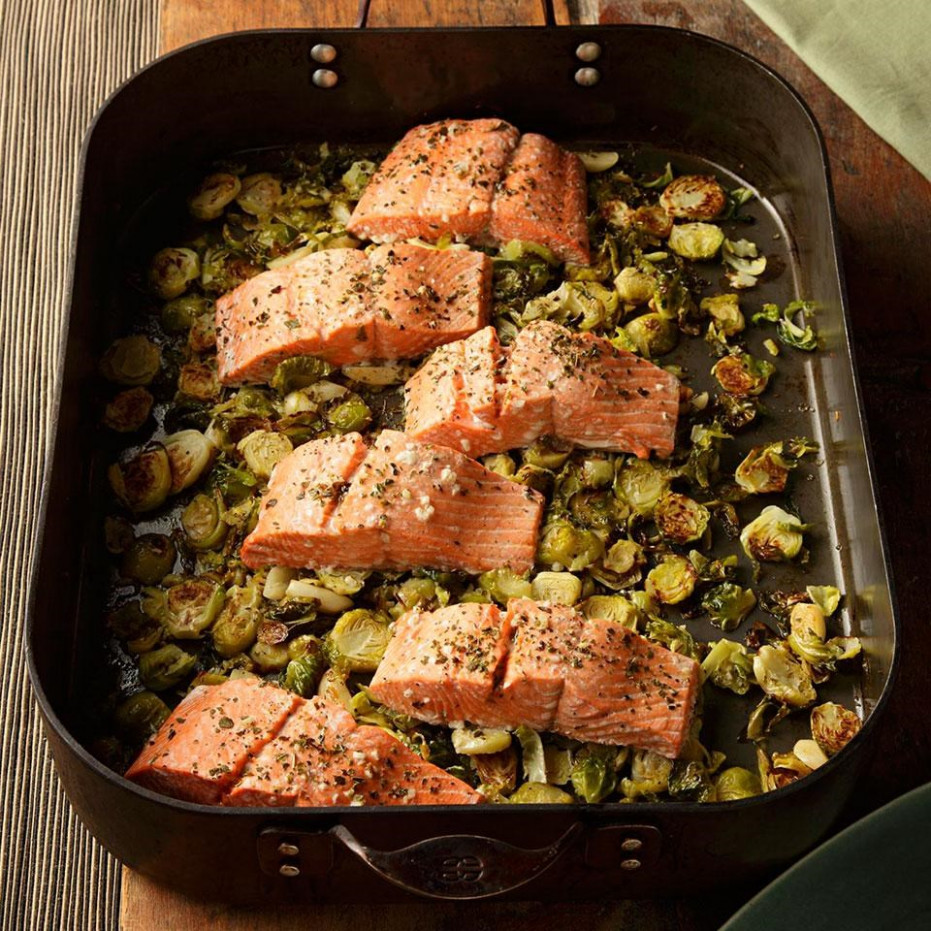 Garlic Roasted Salmon & Brussels Sprouts Recipe - EatingWell - what are healthy food recipes