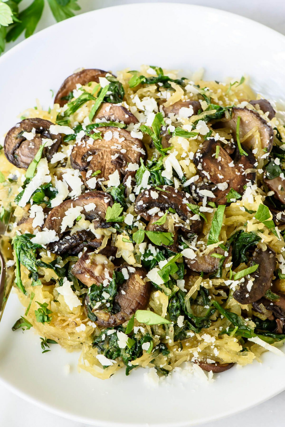 Garlic Roasted Spaghetti Squash with Parmesan and Mushrooms ..