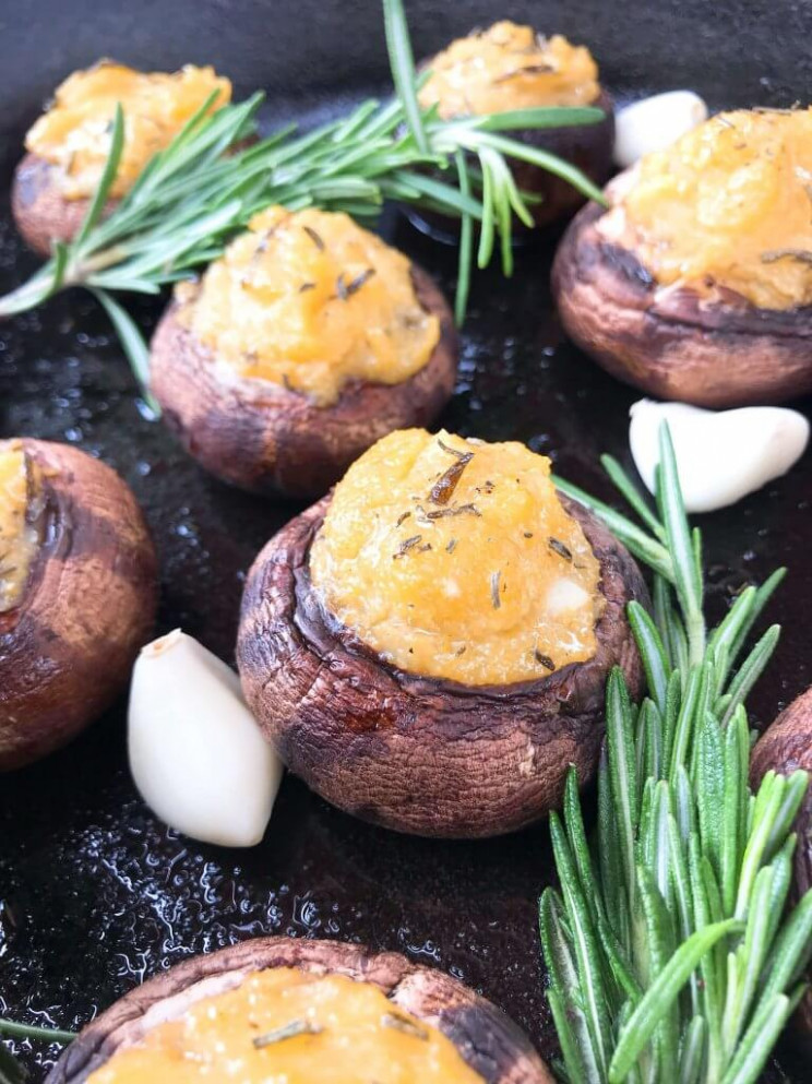 Garlic Rosemary Polenta Stuffed Mushrooms - polenta recipes vegetarian