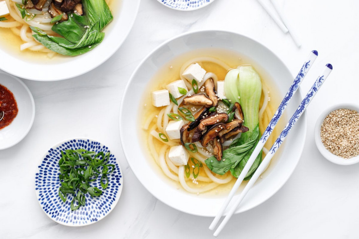 Ginger Miso Udon Noodle Soup with Roasted Mushrooms - recipe vegetarian udon noodle soup