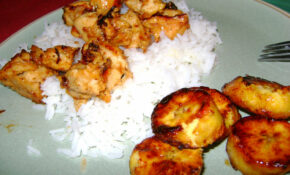 Ginger Orange chicken and Fried Plantains
