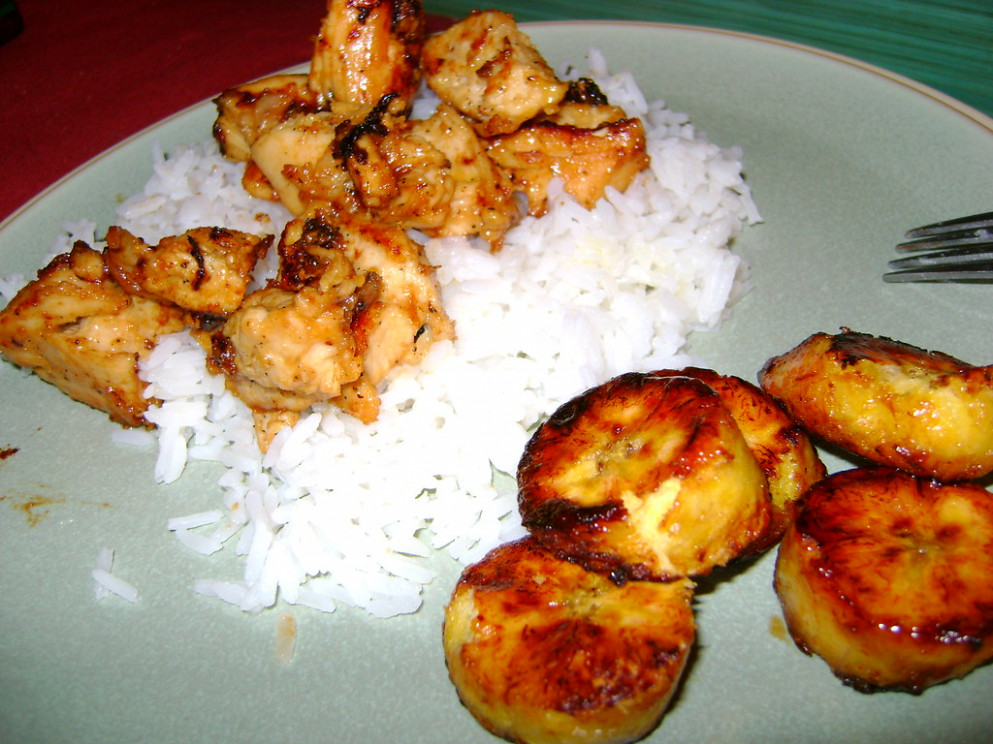 Ginger Orange chicken and Fried Plantains - dinner recipes with shredded chicken breast