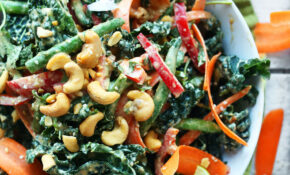 Gingery Thai Kale Salad With Cashew Dressing – Healthy Kale Recipes