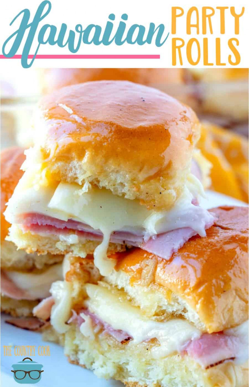 GLAZED HAM AND CHEESE HAWAIIAN PARTY ROLLS - hawaiian food recipes