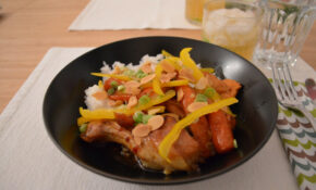 Glazed Orange Hoisin Chicken Over Rice With Bell Pepper Green Onions And Toasted Almonds On Placemat – Recipes Chicken Dinner