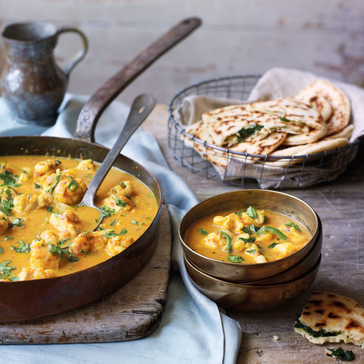 Goan fish curry with garlic and coriander naans - curry ..