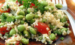 Gourmet Vegetarian Tabbouleh Salad With Edamame and Feta Cheese