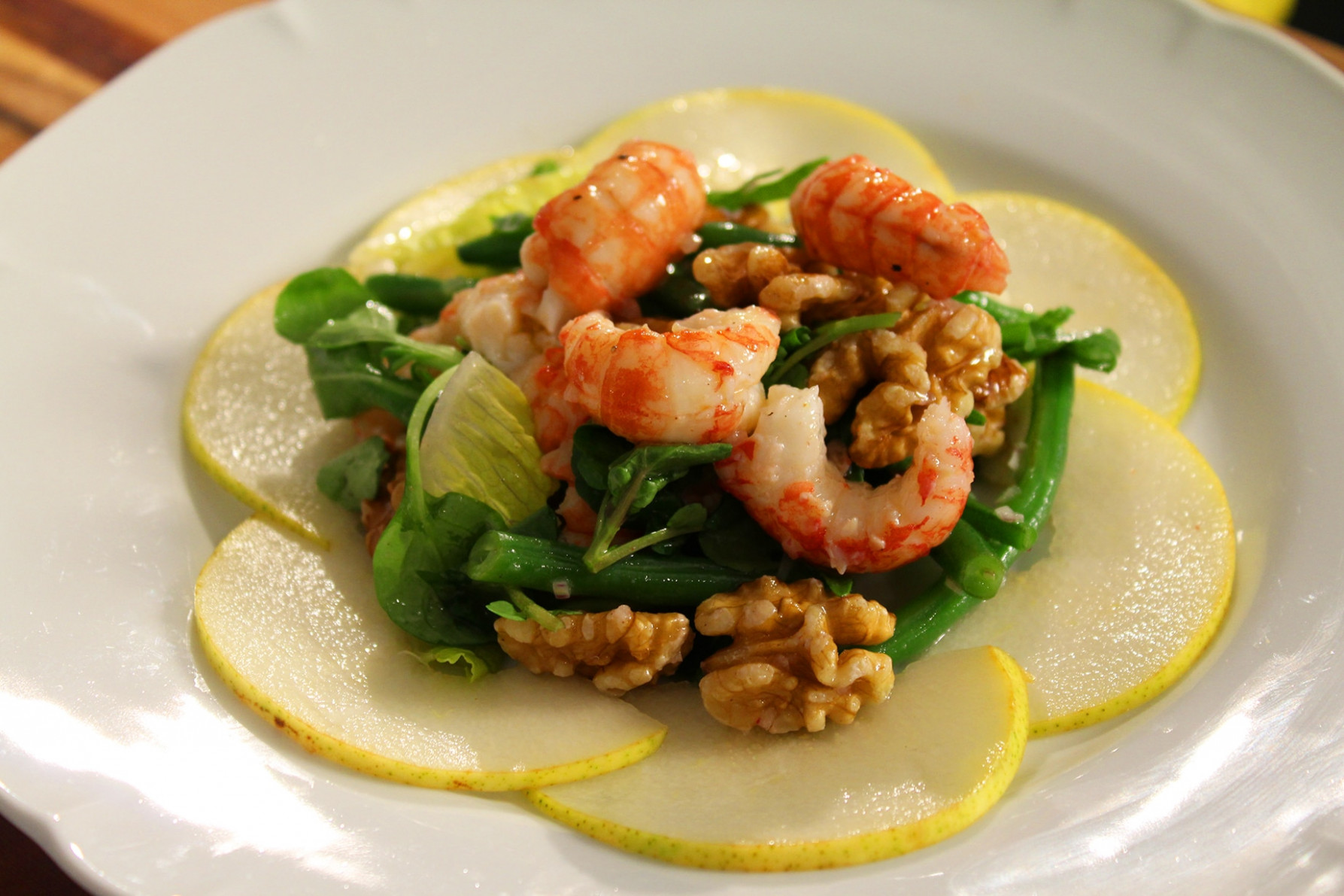 Gourmet yabby salad with pears and walnuts recipe : SBS Food - food recipes with pictures