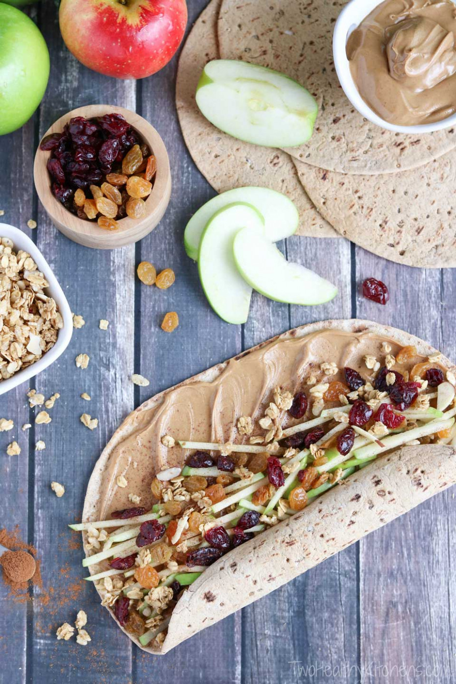 Granola Crunch Apple Peanut Butter Sandwich Wraps - Recipes Of Healthy Meals