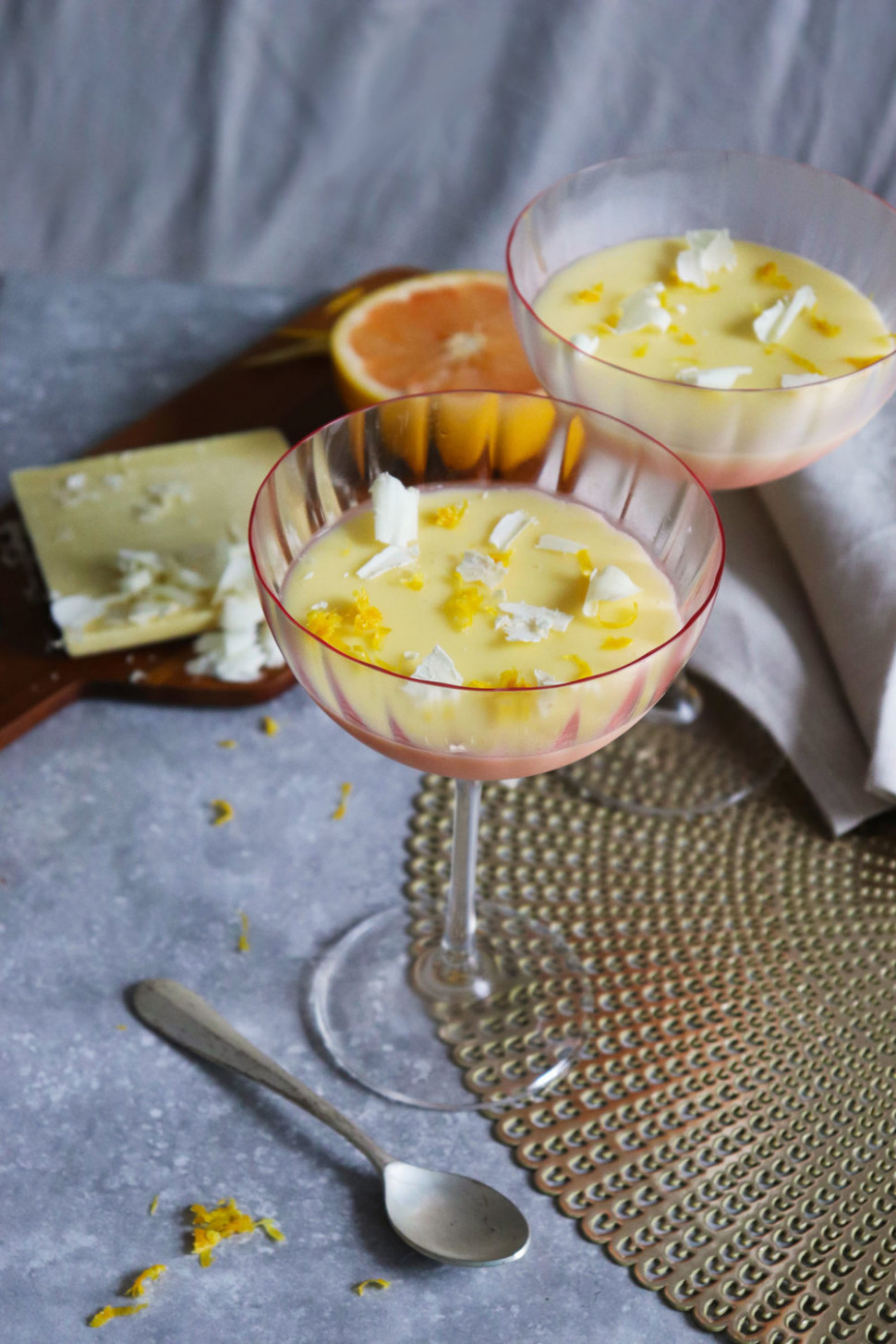 Grapefruit and white chocolate possets — Baking Martha - recipes to make ahead for dinner party