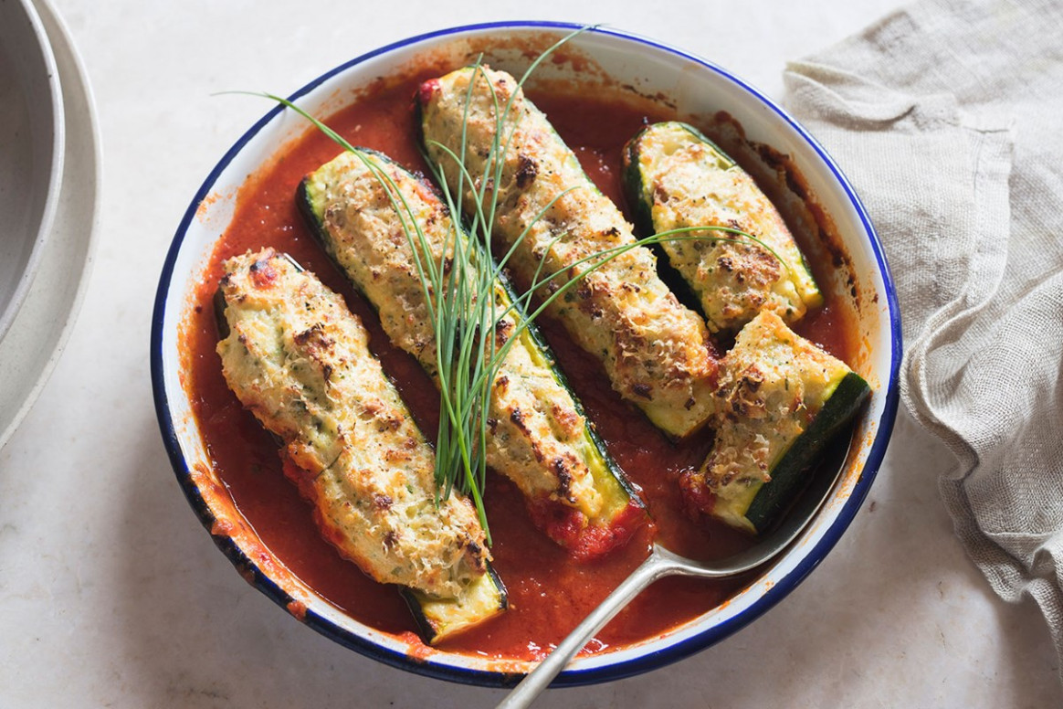 Gratin of stuffed zucchini ( SERVES 10 ) - vegetarian stuffed zucchini recipes