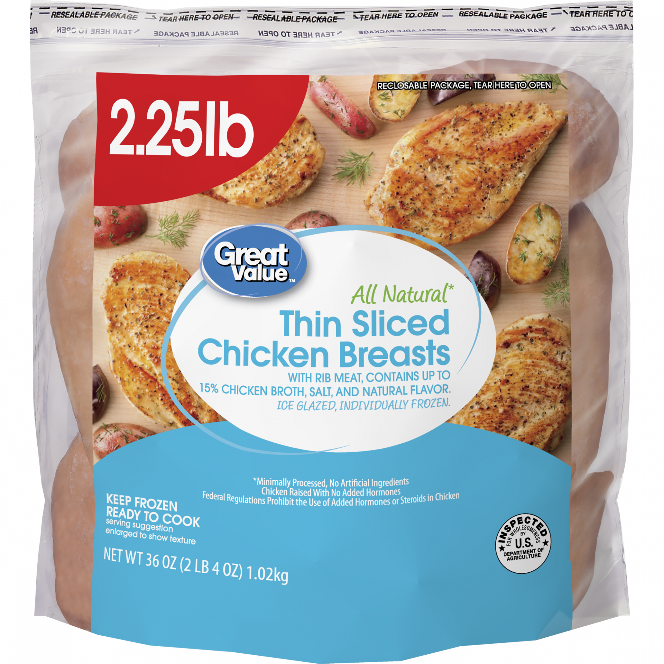 Great Value Thin Sliced Chicken Breasts, All Natural, 15 Oz - Walmart