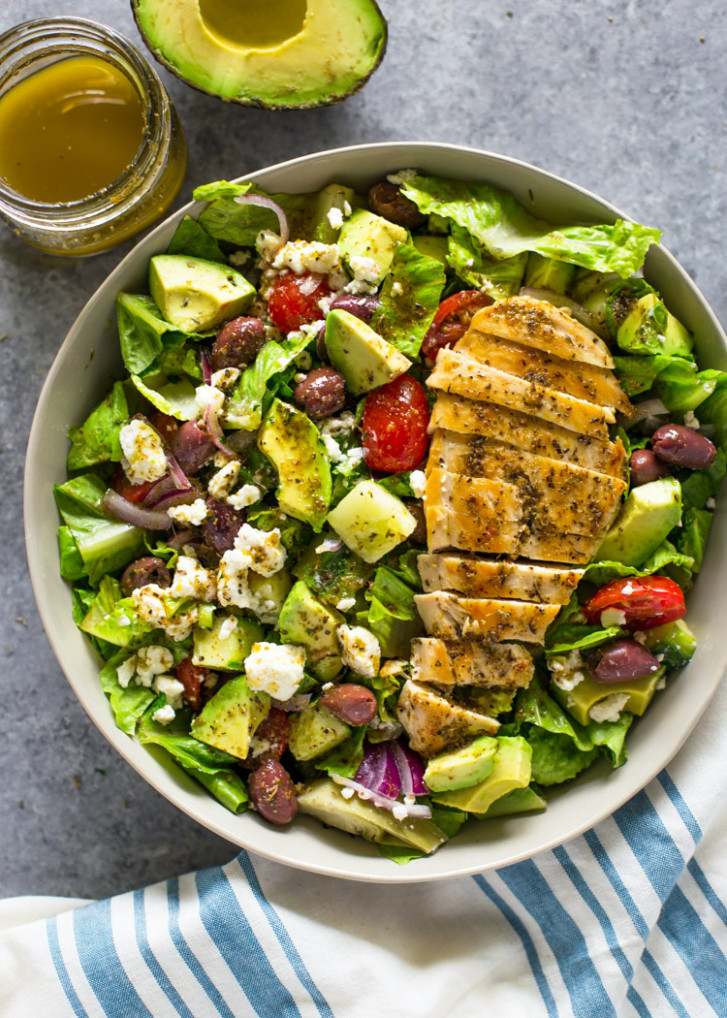 Greek Avocado & Grilled Chicken Salad With Greek Dressing - Avocado Recipes Chicken