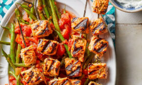 Greek Grilled Salmon Kebabs With Tzatziki & Green Beans – Food Recipes Greek
