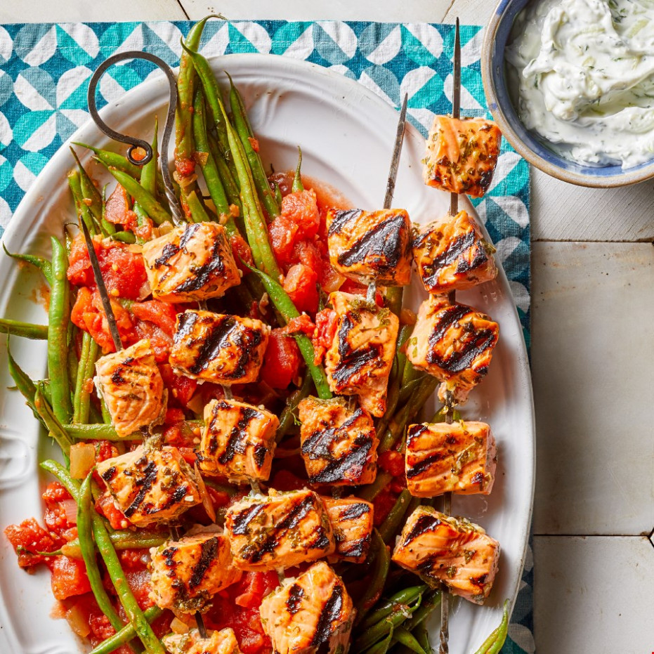 Greek Grilled Salmon Kebabs with Tzatziki & Green Beans - food recipes greek