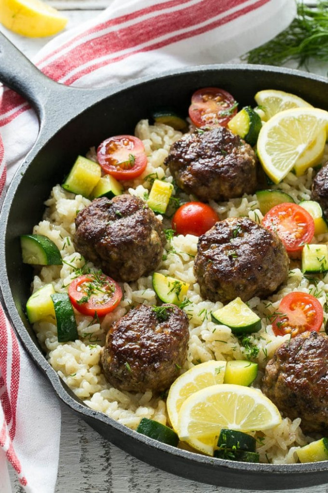 Greek Meatballs with Lemon Dill Rice - Dinner at the Zoo - meat recipes dinner
