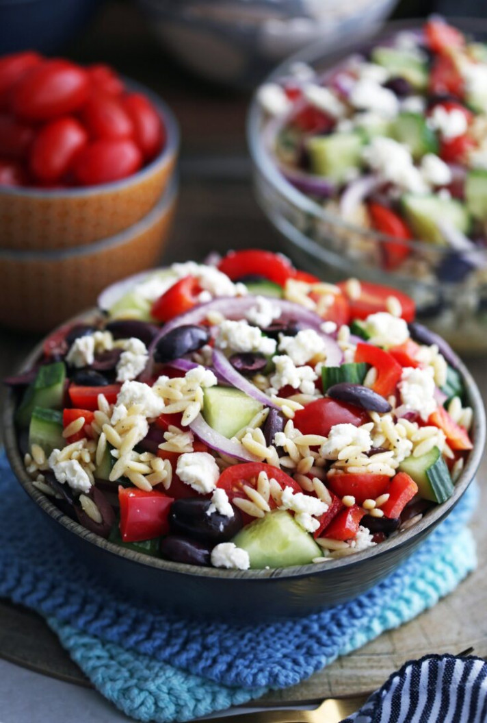 Greek Orzo Salad with Lemon Vinaigrette - greek vegetarian recipes