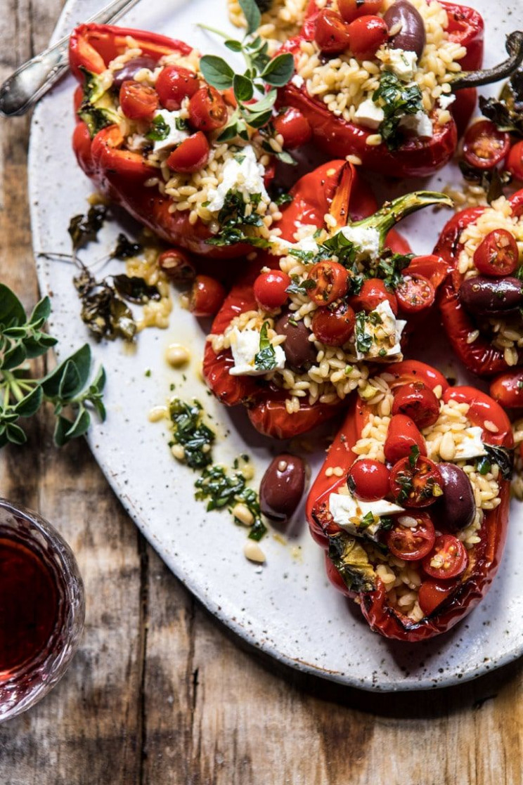 Greek Orzo Stuffed Red Peppers with Lemony Basil Tomatoes - recipes stuffed peppers vegetarian