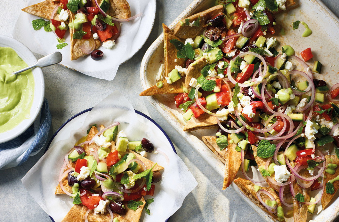Greek salad nachos - food recipes greek