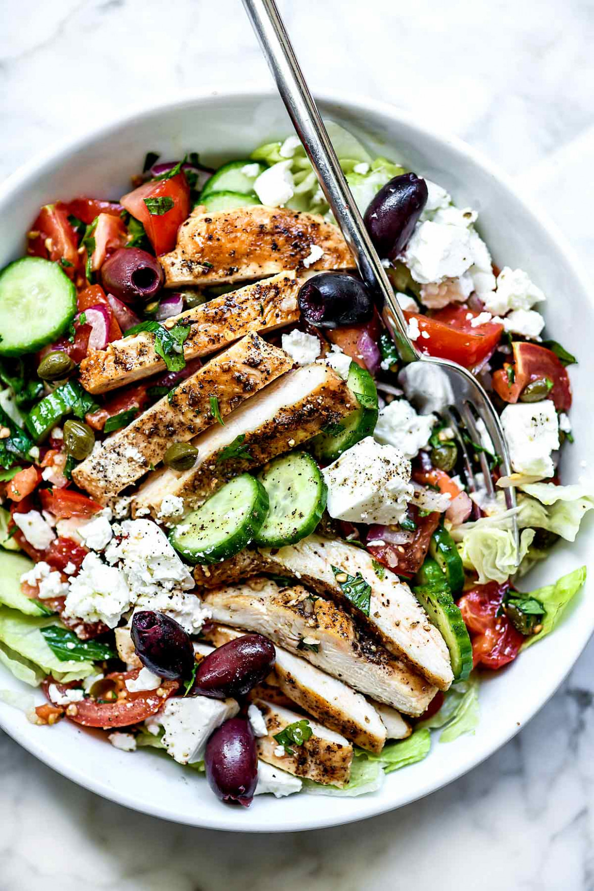 Greek Salad with Chicken | foodiecrush