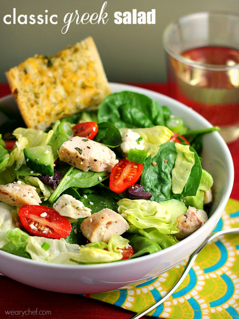 Greek Salad with Chicken - greek recipes dinner