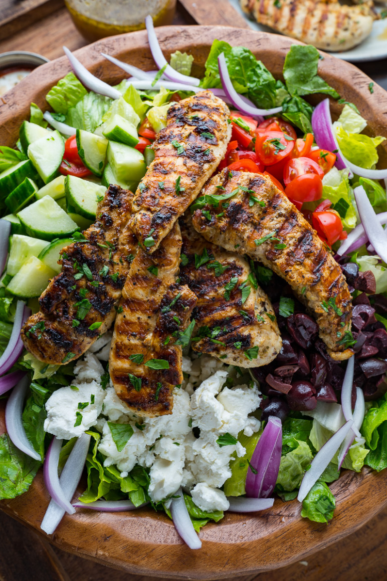 Greek Style Grilled Chicken Salad - greek recipes chicken