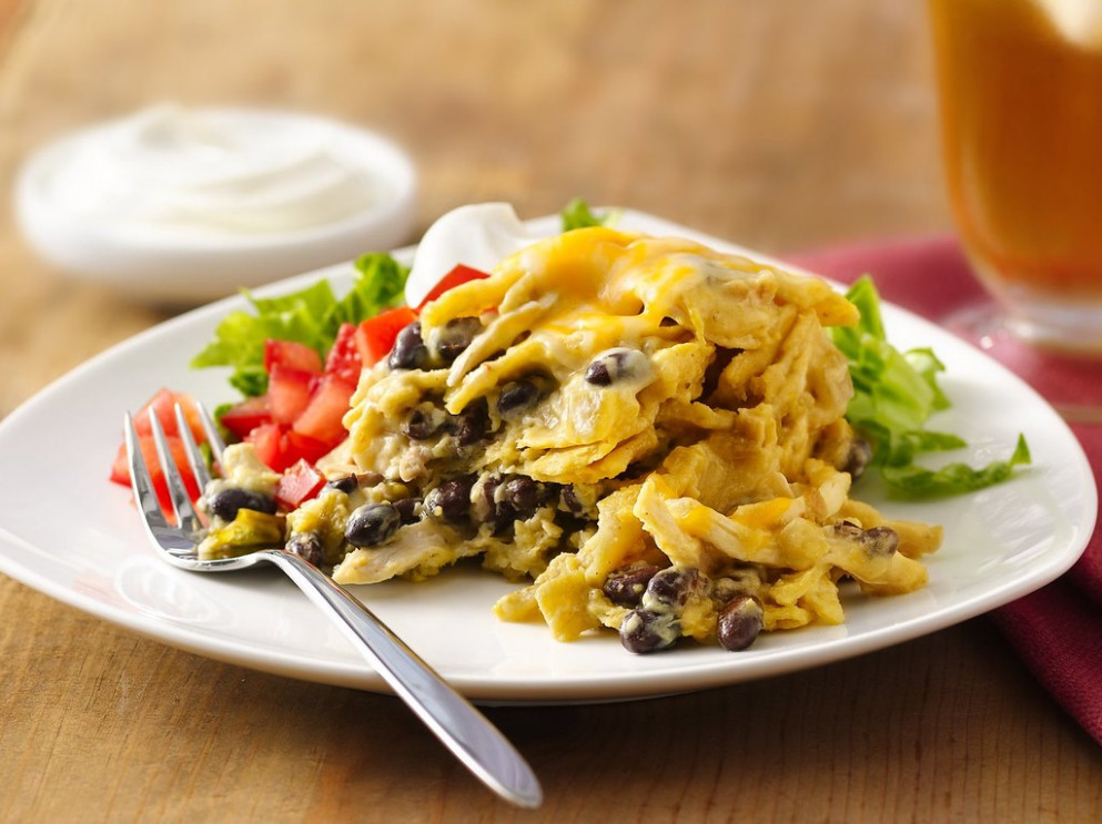 Green Chile-Chicken Enchilada Casserole Recipe - chicken recipes using sour cream