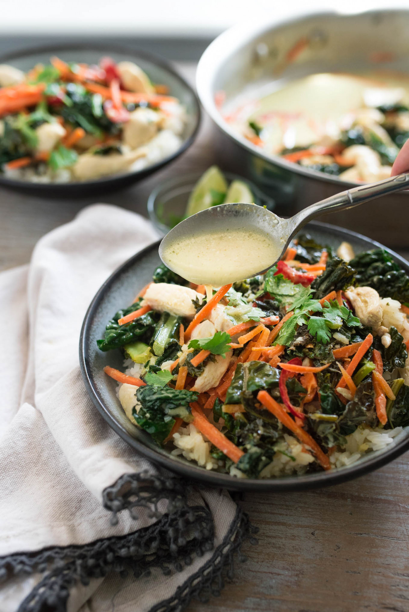 Green Curry with Chicken and Kale - chicken and vegetable recipes