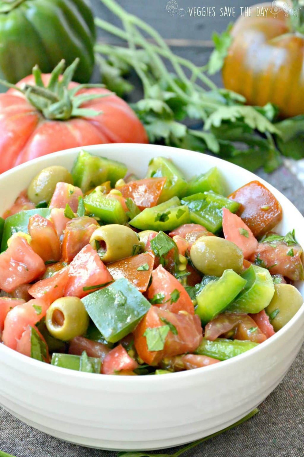 Green Pepper Salad with Tomatoes - recipes green peppers vegetarian