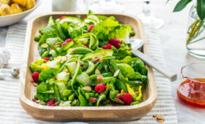 Green Salad With Shaved Cucumber, Peas, Mint And Raspberry ..