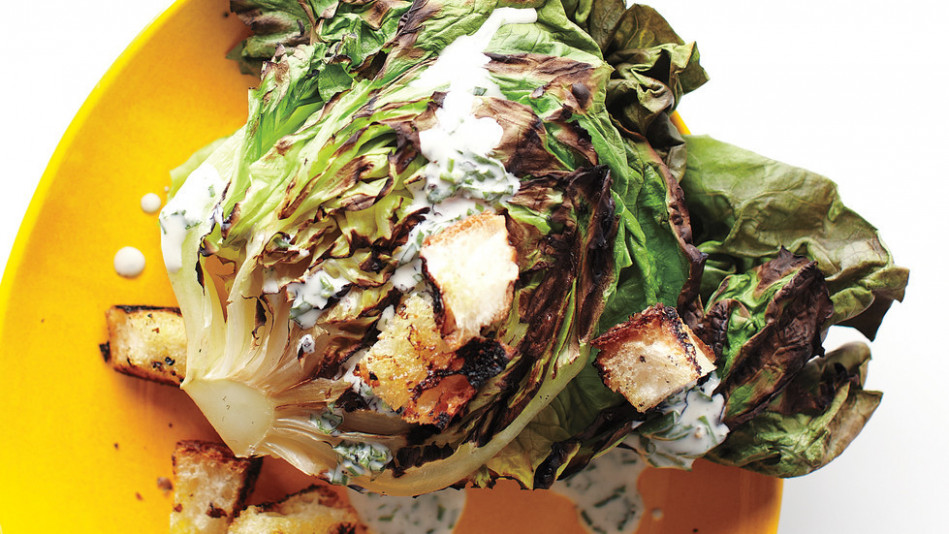 Grilled Butter Lettuce with Creamy Dressing - dinner party recipes