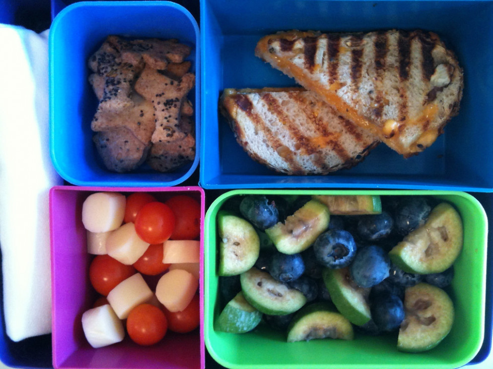 Grilled cheese panini, blueberries, guava, Seed Crackers, cheese cubes & cherry tomatoes - toddler food recipes