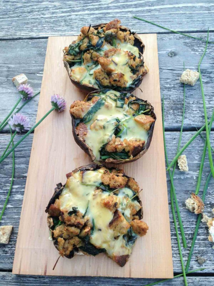 Grilled Cheesy Kale Stuffed Mushrooms - Vegetarian Recipes On The Grill