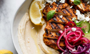 Grilled Chicken Shawarma Hummus Bowls – Healthy Red Cabbage Recipes