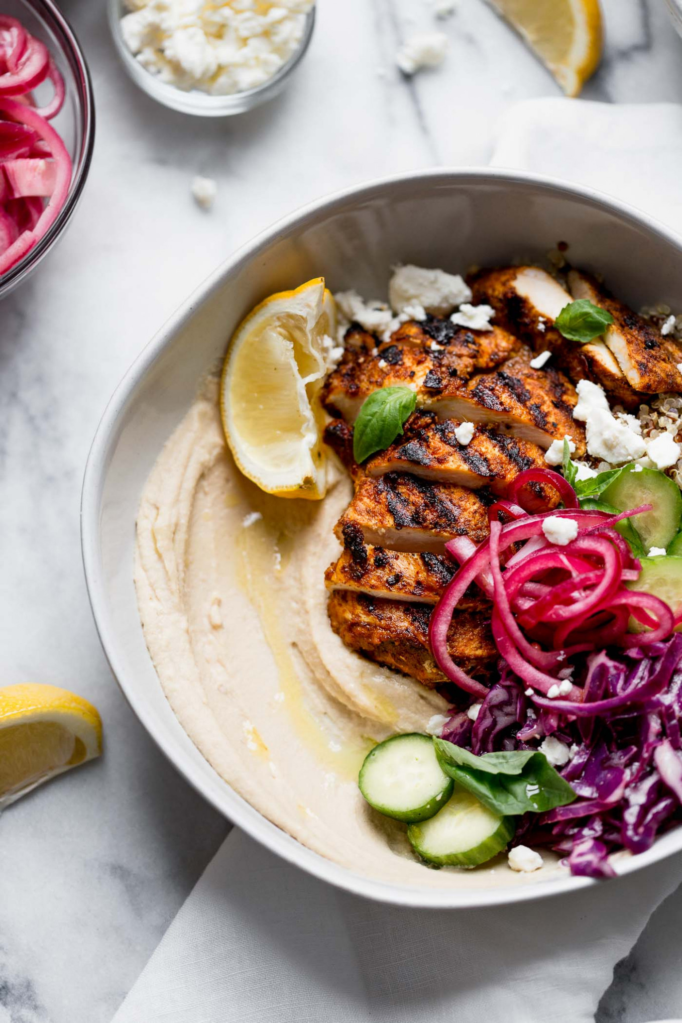 grilled chicken shawarma hummus bowls - healthy red cabbage recipes