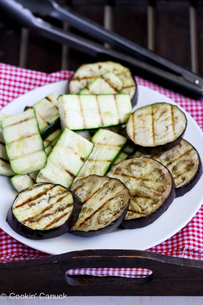 Grilled Eggplant & Zucchini Salad Recipe with Feta, Chickpeas & Mint | cookincanuck