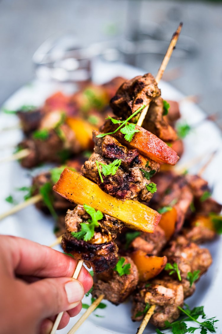 Grilled Jerk Chicken and Peach Skewers - recipes jamaican jerk chicken