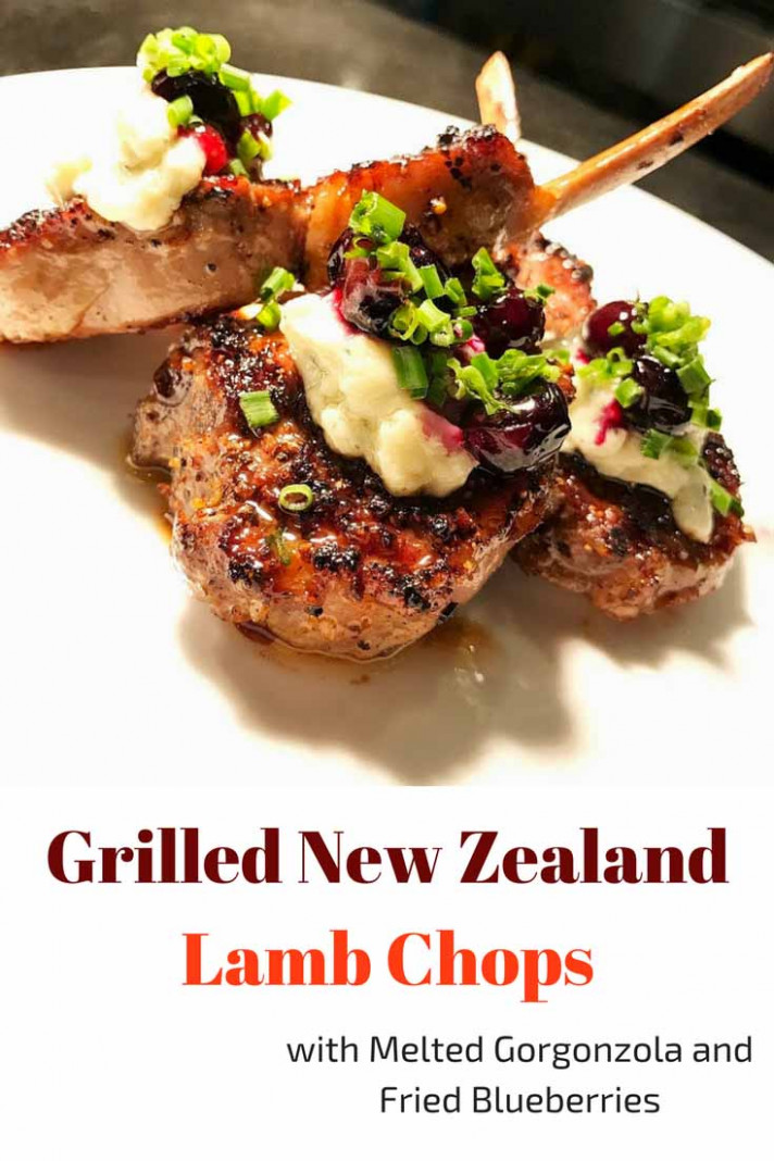 Grilled New Zealand Lamb Chops with Melted Gorgonzola and Fried Blueberries - food recipes new zealand