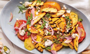 Grilled Peach And Heirloom Tomato Salad Recipe | SELF – Queer Eye Food Recipes