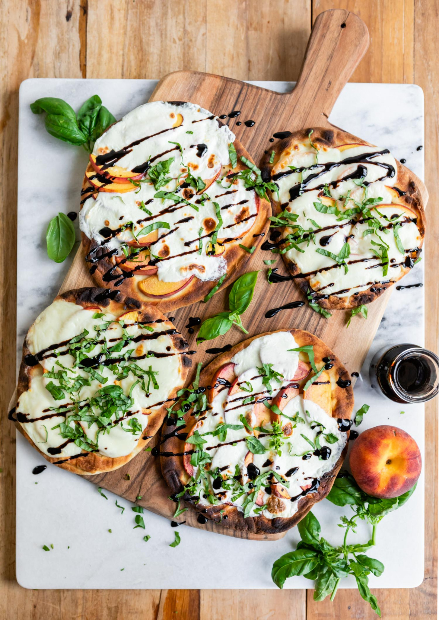 Grilled Peach Caprese Naan Pizza - Summer Recipes Vegetarian
