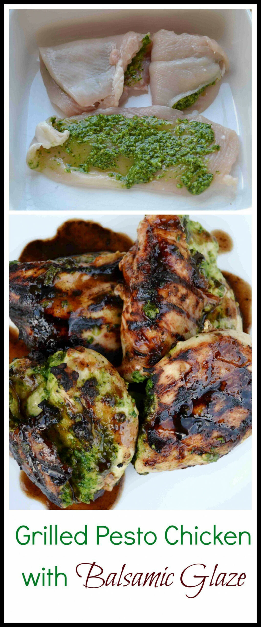 Grilled Pesto Stuffed Chicken with Balsalmic Glaze ..