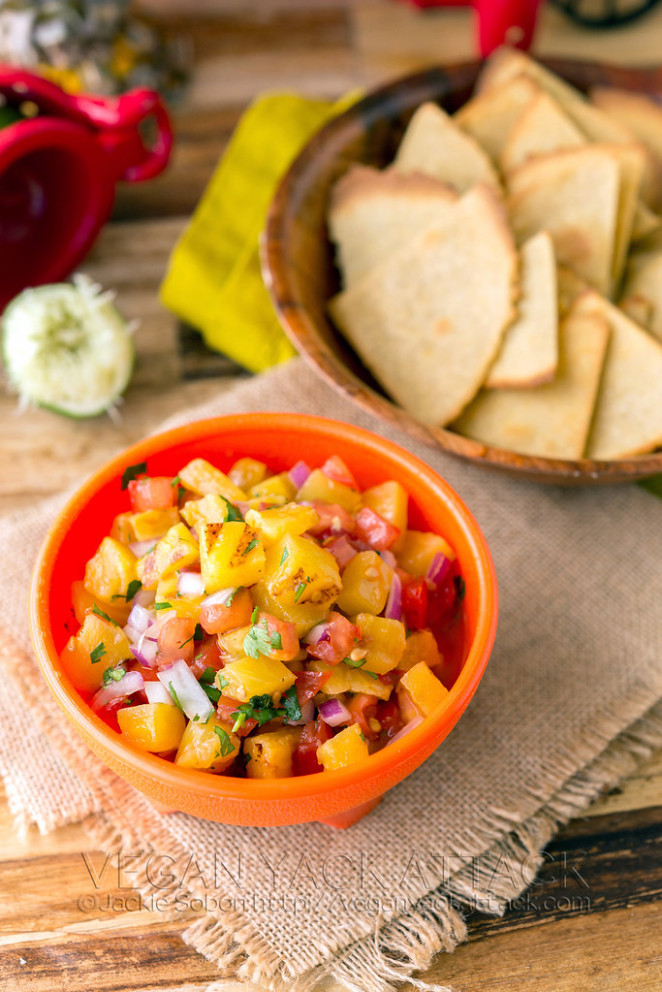 Grilled Pineapple Salsa with Quinoa-Corn Tortilla Chips - healthy mexican recipes