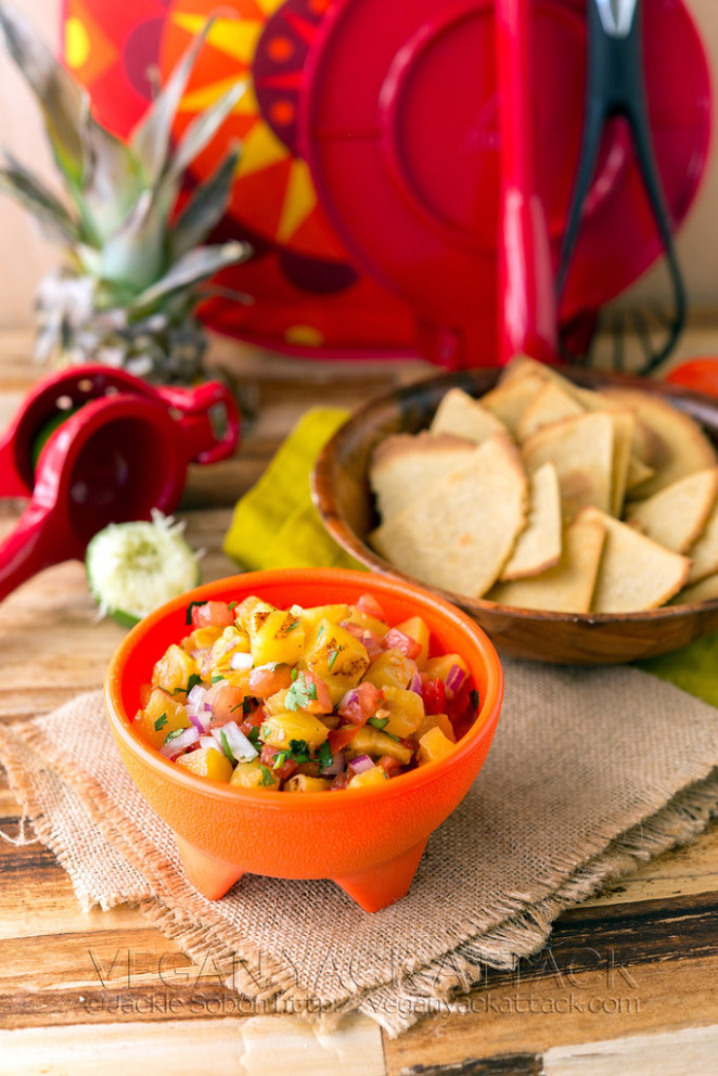 Grilled Pineapple Salsa with Quinoa-Corn Tortilla Chips - recipes vegetarian mexican food