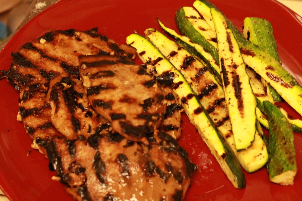 Grilled pork and zucchini - keto diet recipes dinner