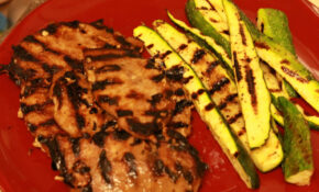 Grilled pork and zucchini