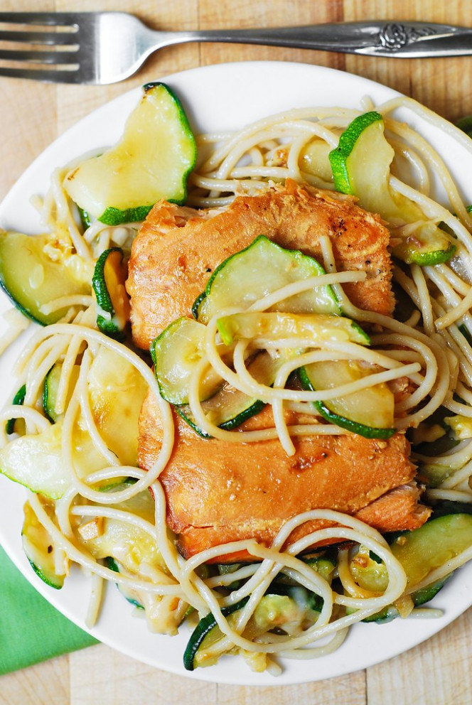 Grilled Salmon and Parmesan Zucchini Pasta - healthy dinner recipes zucchini